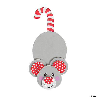 Pattern for felt mouse with candy cane images