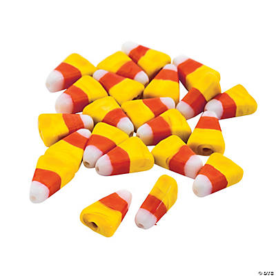 candy corn lampwork beads 15mm