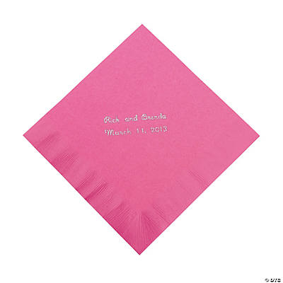 Candy Pink Personalized Luncheon Napkins with Silver Print