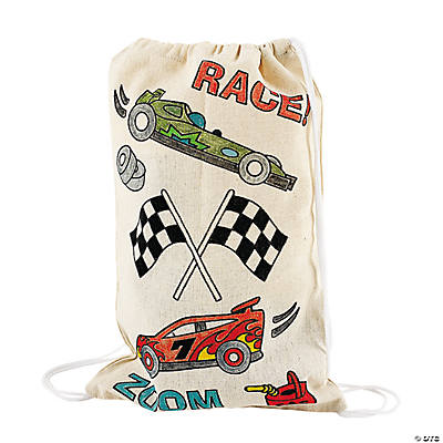 Canvas Color Your Own Race Car Drawstring Backpacks