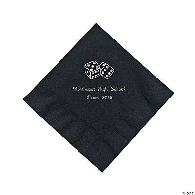Casino Black Personalized Luncheon Napkins with Silver Print