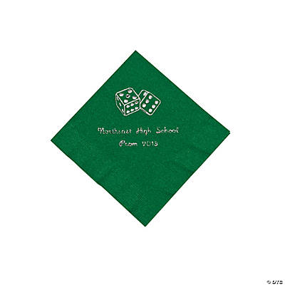 Casino Green Personalized Beverage Napkins with Silver Print