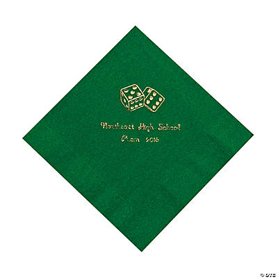 Casino Green Personalized Luncheon Napkins with Gold Print
