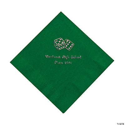 Casino Green Personalized Luncheon Napkins with Silver Print