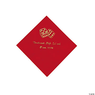 Casino Red Personalized Beverage Napkins with Gold Print