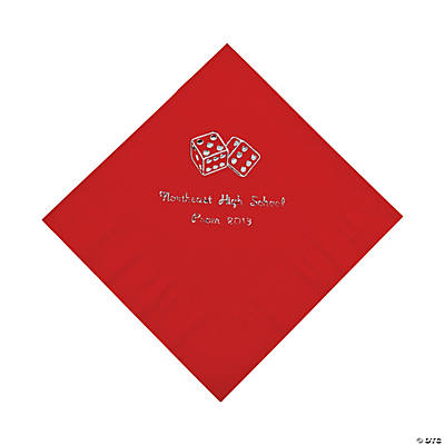 Casino Red Personalized Luncheon Napkins with Silver Print