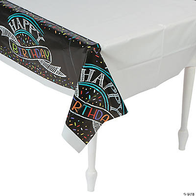 Chalk Birthday Plastic Tablecloth