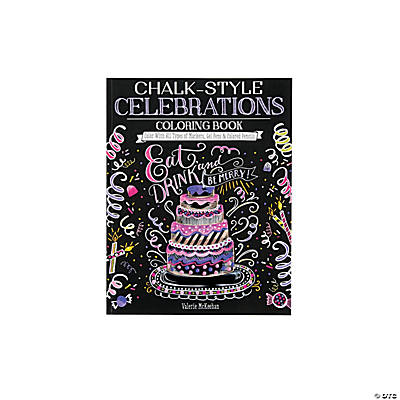Chalk Style Celebrations Adult Coloring Book
