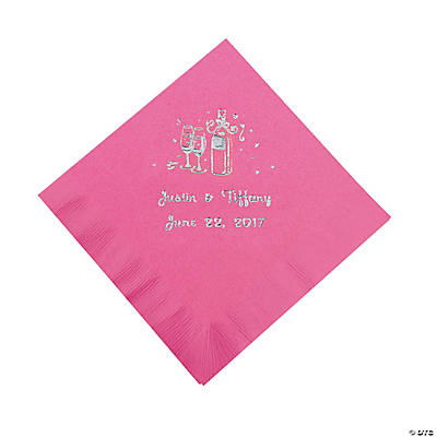 Champagne Personalized Beverage Napkins - Candy Pink with Silver Print