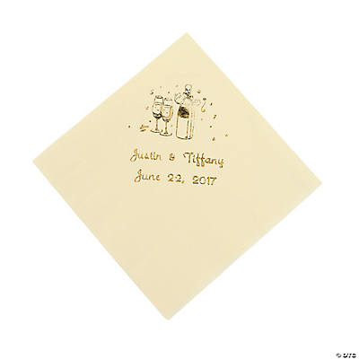 Champagne Personalized Beverage Napkins - Ivory with Gold Print