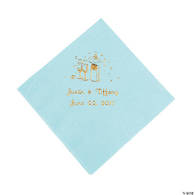 Champagne Personalized Beverage Napkins - Light Blue with Gold Print