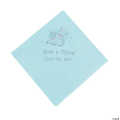 Champagne Personalized Beverage Napkins - Light Blue with Silver Print