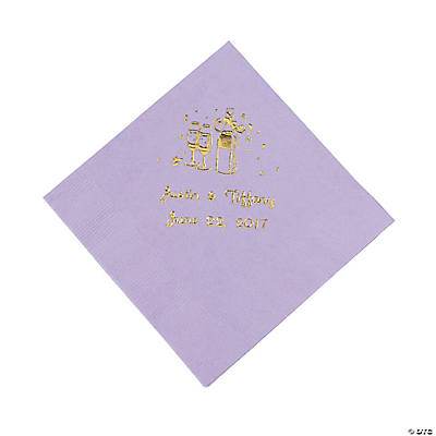 Champagne Personalized Beverage Napkins - Lilac with Gold Print