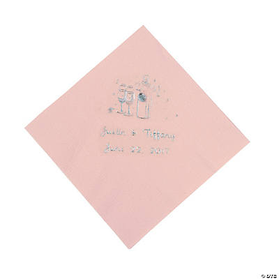Champagne Personalized Beverage Napkins - Pink with Silver Print