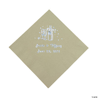 Champagne Personalized Beverage Napkins - Sage Green with Silver Print