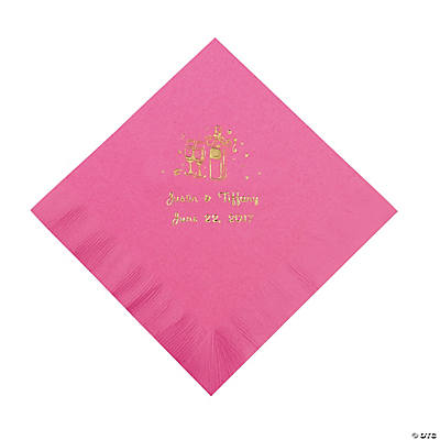 Champagne Personalized Luncheon Napkins - Candy Pink with Gold Print