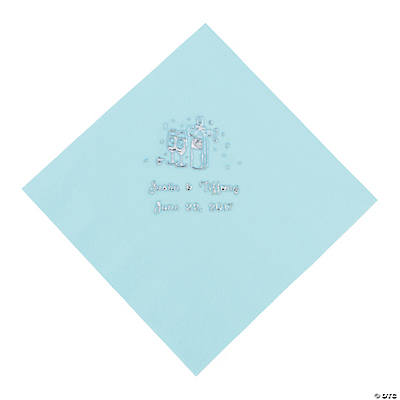 Champagne Personalized Luncheon Napkins - Light Blue with Silver Print