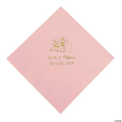 Champagne Personalized Luncheon Napkins - Pink with Gold Print