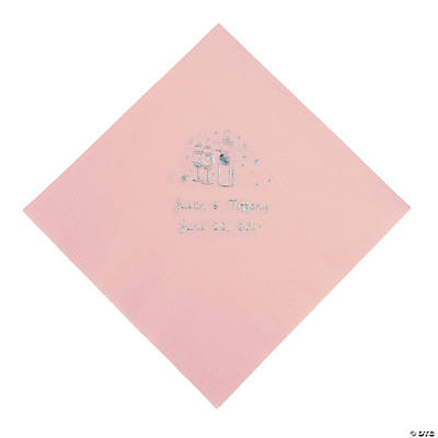 Champagne Personalized Luncheon Napkins - Pink with Silver Print