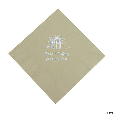 Champagne Personalized Luncheon Napkins - Sage Green with Silver Print
