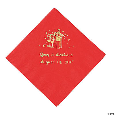 Champagne Red Personalized Beverage Napkins with Gold Print