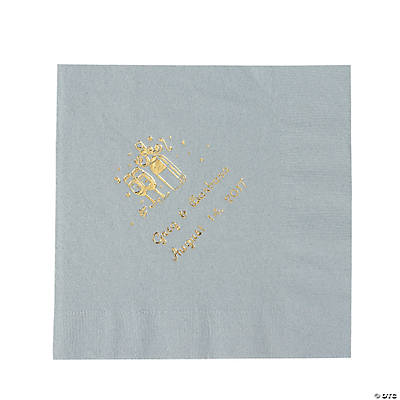 Champagne Silver Personalized Luncheon Napkins with Gold Print