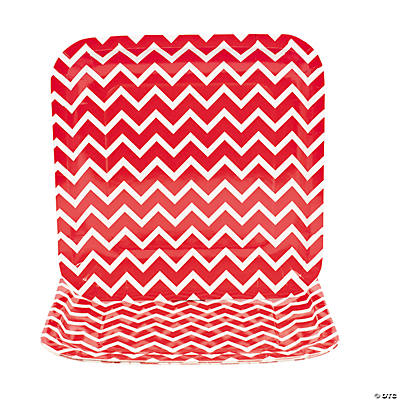 Chevron Red Dinner Plates