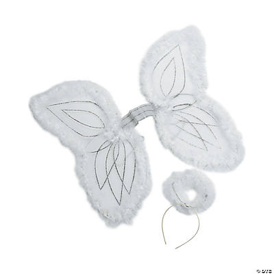 Child's White Marabou Angel Wings & Halo Headband