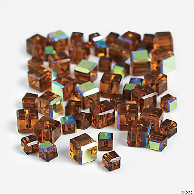 Chocolate Brown Cube AB Cut Crystal Beads - 4mm-6mm