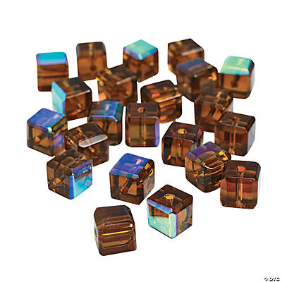Chocolate Brown Cube AB Cut Crystal Beads - 8mm