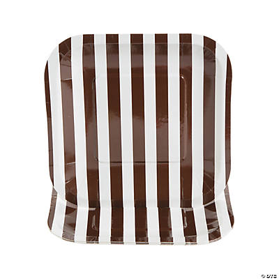 Chocolate Brown Striped Square Dessert Plates