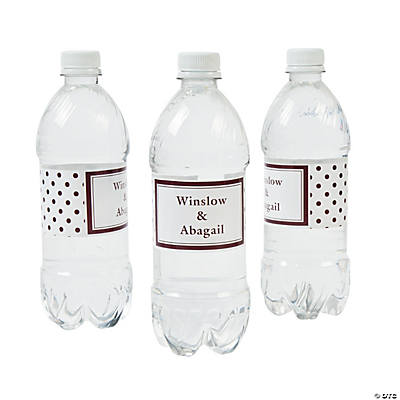 Chocolate Polka Dot Personalized Water Bottle Labels