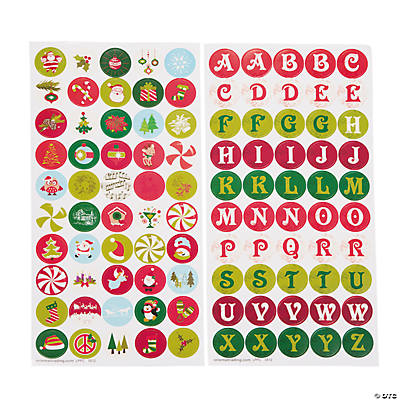 Christmas Bottlecap Stickers - 1""