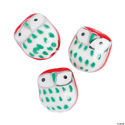 Christmas Owl Beads - 16mm