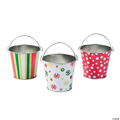 Christmas pails oriental trading discontinued for Christmas tin pails