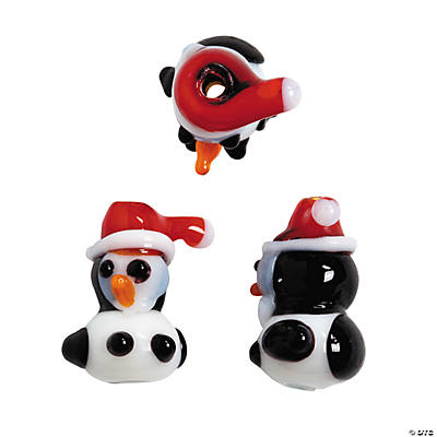 Christmas Penguin Lampwork Beads - 10mm x 18mm