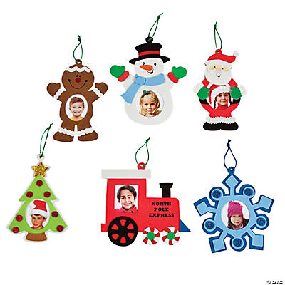 Christmas picture frame ornament craft kit oriental trading for Photo frame ornament craft