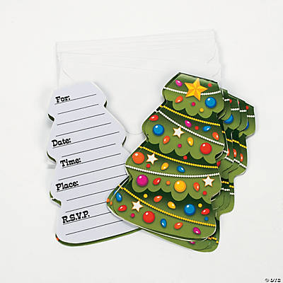 Christmas Tree-Shaped Invitations