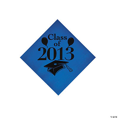 """Class Of 2013"" Blue Beverage Napkins"