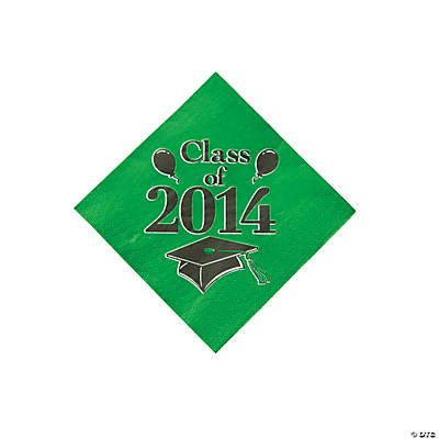 """Class of 2014"" Graduation Green Beverage Napkins"
