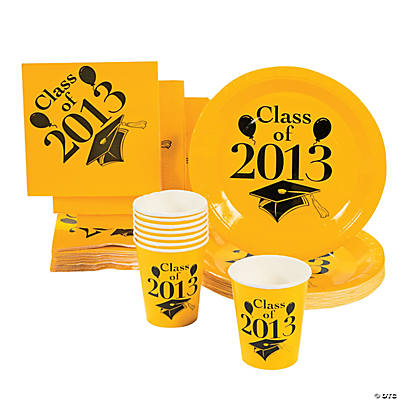 """Class Of 2013"" Yellow Tableware"