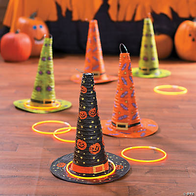 Classic Halloween Witch Hat Ring Toss Game Idea