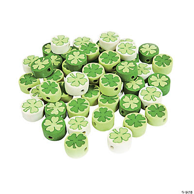 Clay Shamrock Beads - 12mm
