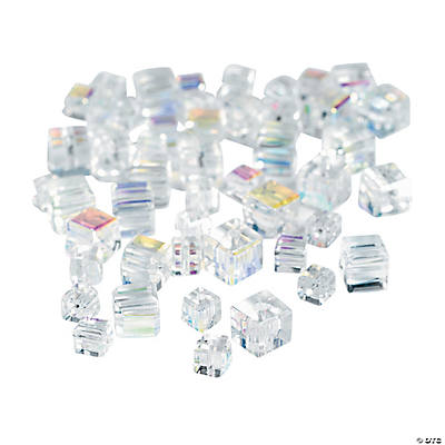 Clear Cube AB Cut Crystal Beads - 4mm-6mm