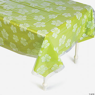 Clear Hibiscus Print Tablecloth