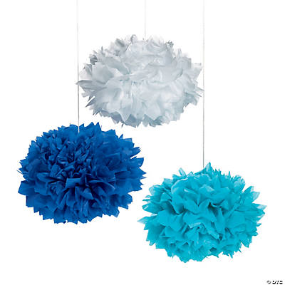 Coastal Hanging Tissue Pom-Pom Decorations