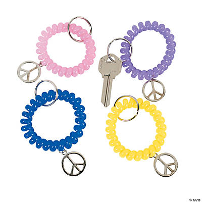 Coil Key Chains with Peace Sign Charm