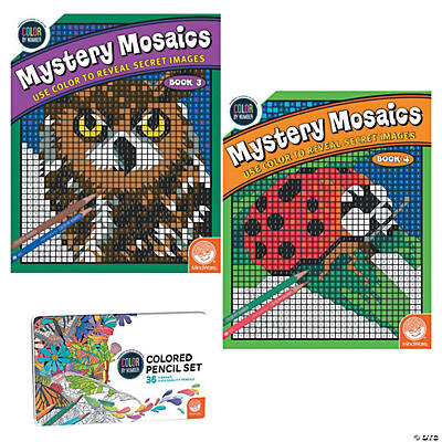 color by number mystery mosaics set books 3 4 with pencils - Color By Number Books