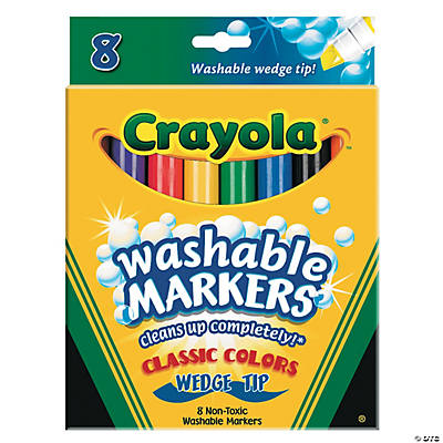 8-Color Crayola® Classic Washable Wedge Tip Markers