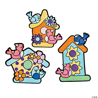 Color Your Own Birdhouse Fuzzy Magnets